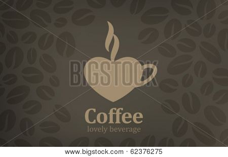 Coffee cup heart shape vector logo design. Cafe emblem icon. Love coffee concept.