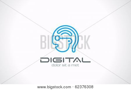 Digital Head Line art vector logo design. Internet generation concept. Geek symbol. Digital Brain