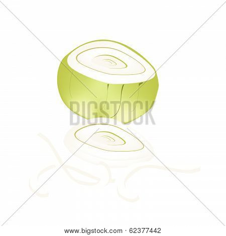 Fresh Sliced Onions On A White Background