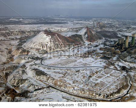 Snow-covered slagheap (aerial view).