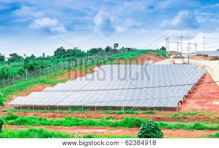 Solar Energy Panels On The Mountain