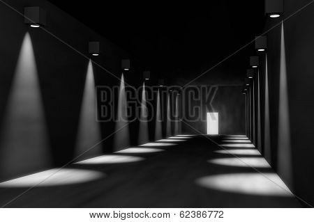 3D Render Of Empty Hall, Dramatic Lights, Door