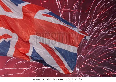 Great Britain Flag Over Fireworks