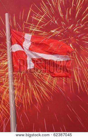 Flag Of Denmark Over Fireworks