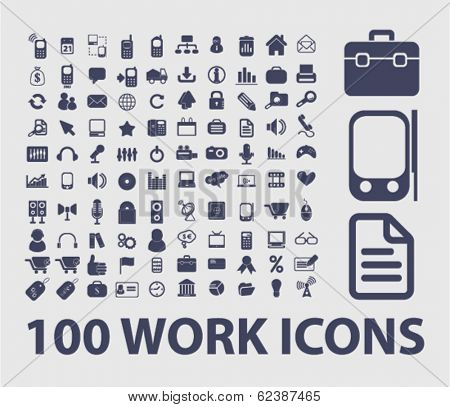 work, presentation, business icons, signs set for website, apps, internet design
