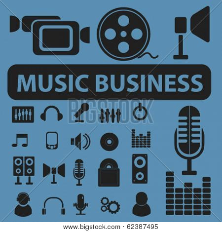music, recording, studio business icons, signs set for website, apps, internet design