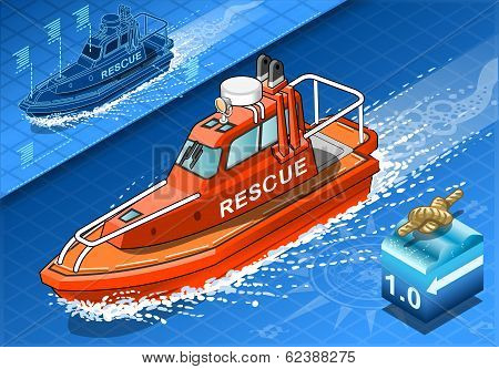 Isometric Rescue Boat In Navigation