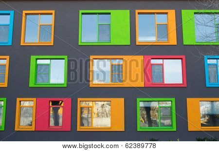 Close up of Colorful Modern Building Windows
