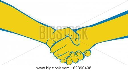 Two adults shaking hands symbolizing meeting, greeting, parting, offering congratulations, expressing gratitude, or completing an agreement.