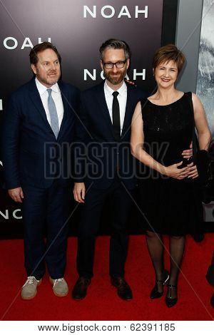 NEW YORK-MAR 26: Costume designer Michael Wilkinson (C) and guests attend the premiere of