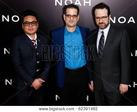 NEW YORK-MAR 26: (L-R) Cinematographer Matthew Libatique, production designer Mark Friedberg and guest attend the premiere of
