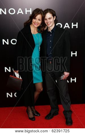 NEW YORK-MAR 26: Actress Margaret Colin (L) and son Sam Deas attend the premiere of
