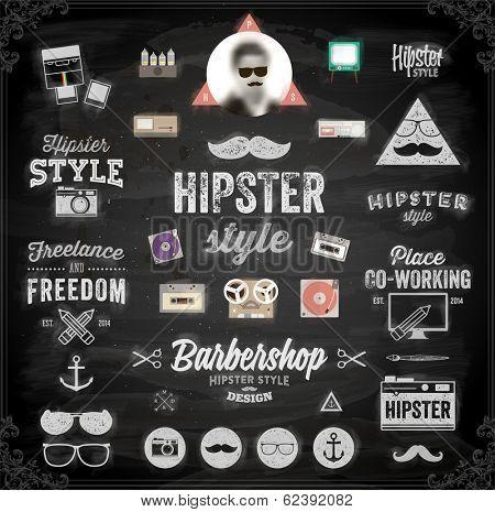 Hipster style infographics elements and icons set for retro design. Chalkboard background. Black illustration variant.