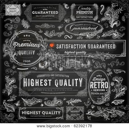 Vector set of calligraphic design elements: page decoration, Premium Quality and Satisfaction Guarantee Label, antique and baroque frames | Chalkboard background. Black illustration variant.