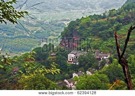Village On Top Of Qiyun Mountain, China,  Oil Paint Stylization
