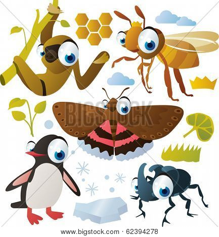 vector animal set: sloth, moth, bee, penguin, beetle