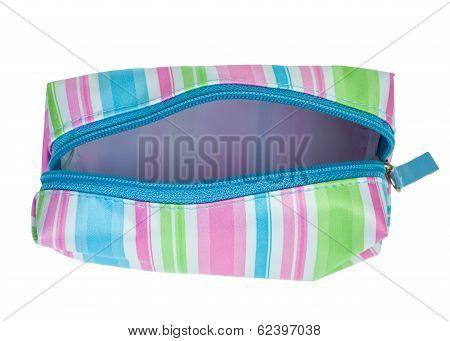 Striped Cosmetics Bag Open Zip