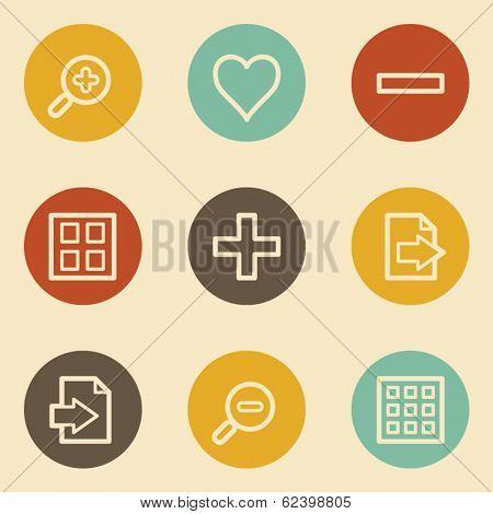Image viewer web icon set 1, retro circle buttons