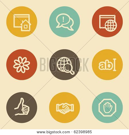 Internet web icon set 1, retro circle buttons