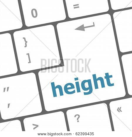 Height Button On Modern Computer Keyboard. Internet Concept