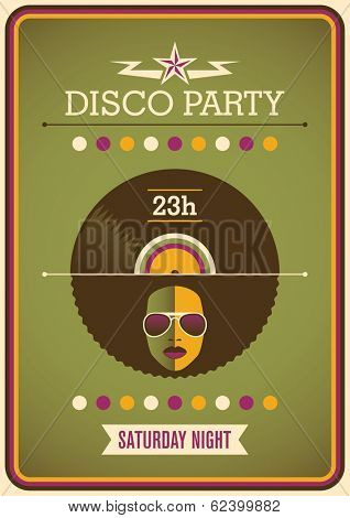 Retro disco party poster design. Vector illustration.