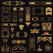 stock photo of outline  - Art Deco Vintage Frames and Design Elements  - JPG