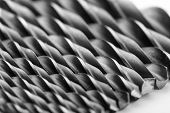 stock photo of drill bit  - Drill bits isolated on white - JPG