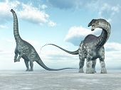 stock photo of apatosaurus  - Computer generated 3D illustration with the Dinosaur Apatosaurus - JPG
