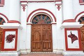 pic of medellin  - Facade of the church on the main town plaza in the town of Guatape in Antioquia Colombia - JPG