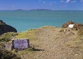 stock photo of sark  - Danger Sign Sheer drop ahead on sark