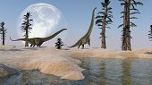 stock photo of dinosaurus  - grazing mamenchisaurus on moon background - JPG