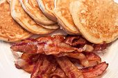 picture of bacon strips  - Homemade pancakes and fresh bacon for breakfast - JPG