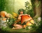 stock photo of toadstools  - 3d computer graphics of a fairy with a wreath on her head leaning against a fungus - JPG