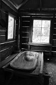 foto of shacks  - Historical colonial goldrush shack showing bathtub in southern NSW - JPG