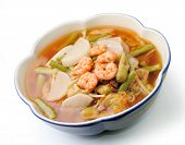 picture of tamarind  - hot and sour curry with tamarind sauce shrimp and vegetables kang som koong - JPG
