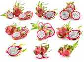 stock photo of dragon fruit  - Ripe Dragon Fruit on over white background - JPG