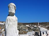 stock photo of phallus  - Stone statue in island Delos near the MykonosGreece - JPG