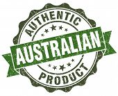 Australian Product Green Grunge Retro Style Isolated Seal