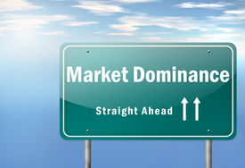 stock photo of dominate  - Highway Signpost with Market Dominance related wording - JPG