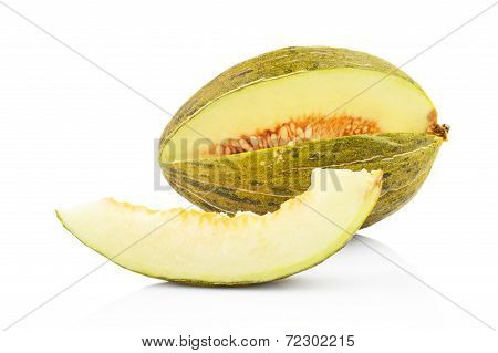 Piel De Sapo Green Melon With Slice Isolated White