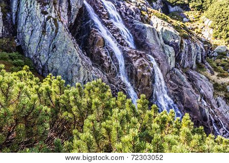 The Great Siklawa Waterfall (70 M High) On Roztoka Stream. The High Tatra Mountains, Carpathians. Va