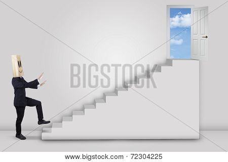 Businessman Walking Forward To The Door