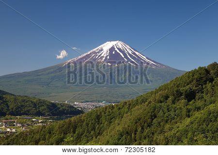 Mt Fuji and lake kawaguchiko in summer season