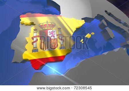 Spain Country Map on Continent