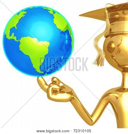 Golden Grad With World