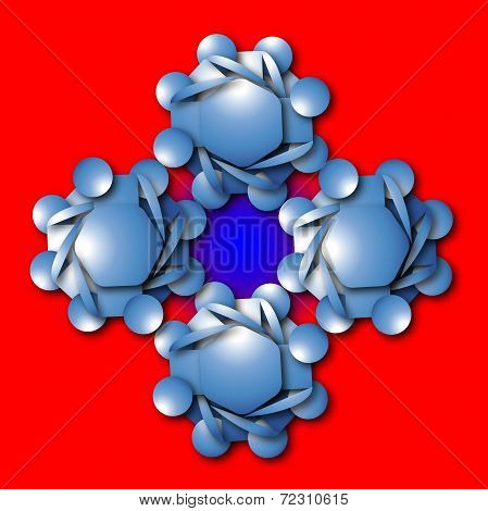 Aimless Color Abstract Composition With A Blue Figures On Red Background;
