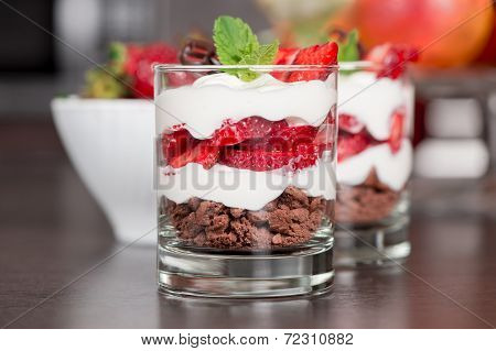 Parfait with strawberry