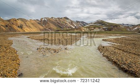 Landmannalaugar unbelievable landscape with tourists walking and river, Iceland