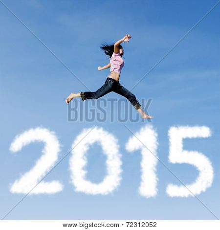 Woman Jumping On The Sky