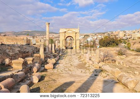 Roman Tetrapylon In Jerash, Jordan
